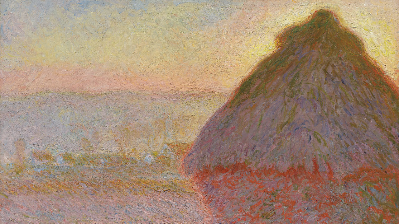 Detail of Monet's painting depicting grain stack during sunset