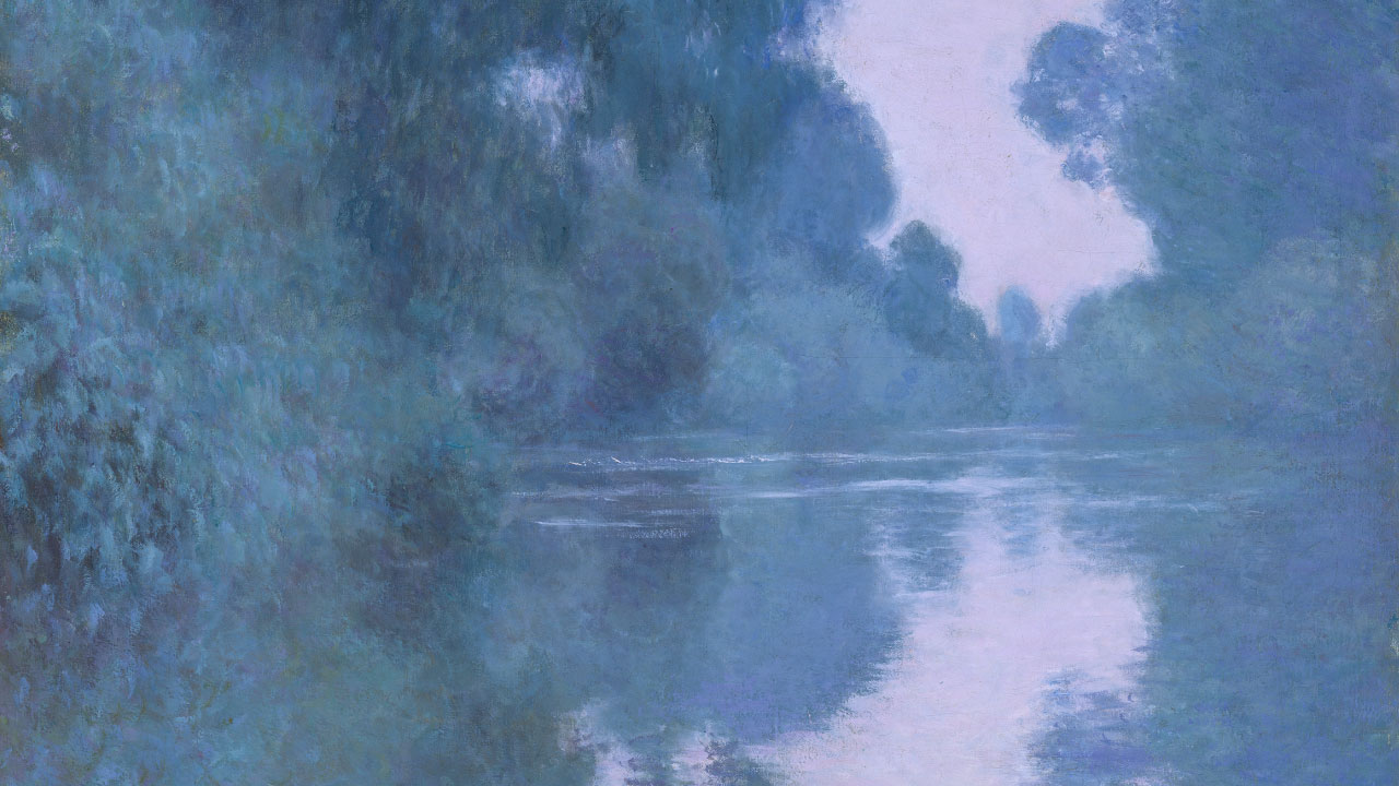 Detail of Monet's painting depicting calm water scene with trees and plants reflected in water