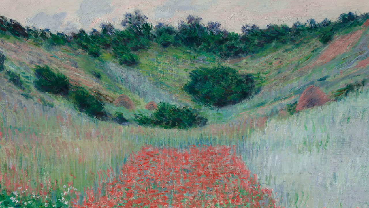 Detail of Monet's painting depicting poppy field in hollow