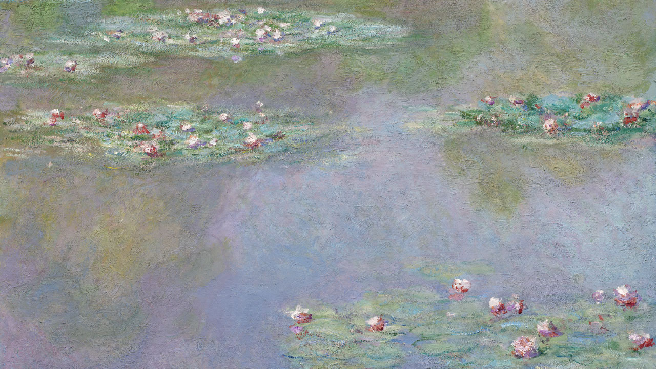 Detail of Monet's painting depicting waterlilies on pond